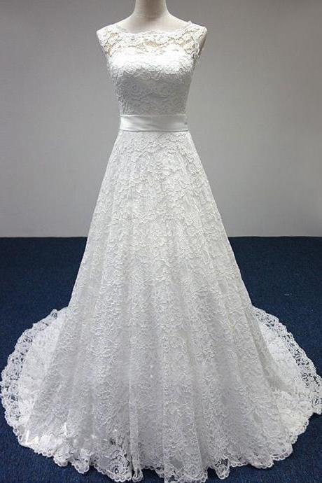 White/Ivory Lace Train Bridal Gown lace Wedding Dress Custom Size