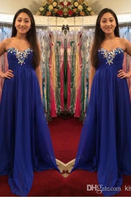 Popular Prom Dresses Rhinestones Beaded And Ruched A-Line Strapless Sweetheart Neck Long Chiffon Evening Pageant Gowns
