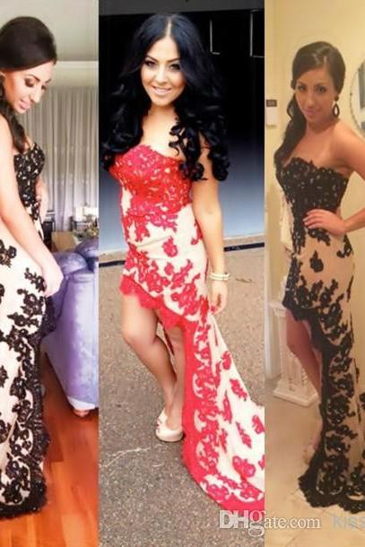Hot Selling Fashion Lace Applique Prom Dresses Strapless Sweetheart Neck Sheath High Low Pretty Pageant Gowns Party Dress