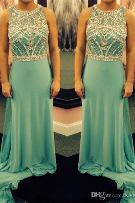 Stylish Jewel Neck Prom Dresses Glitter Crystal Beaded A-Line Sleeveless Floor Length Elegant Chiffon Evening Gowns