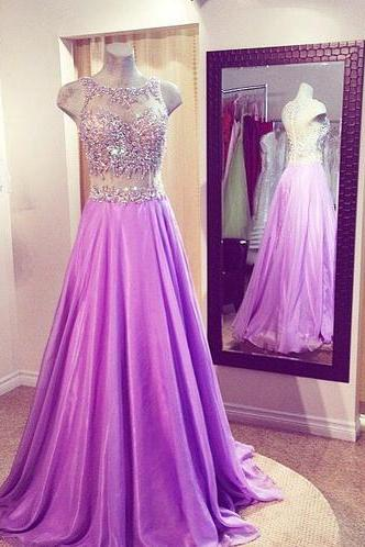 Lilac Prom Dresses,Beaded Prom Dress,Sexy Prom Dress Prom Dresses Formal Gown,Beading Evening Gowns,Two Pieces Party Dress,Prom Gown For Teens