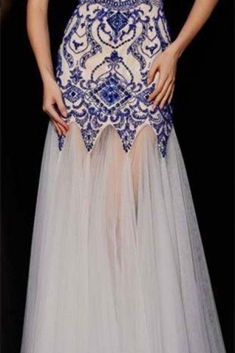 Ivory Prom Dresses,Beading Prom Dress,Mermaid Prom Gown,Sparkly Prom Gowns,Elegant Evening Dress,Sparkle Evening Gowns,Royal Blue Beads Evening Gowns,Sexy Prom Dresses