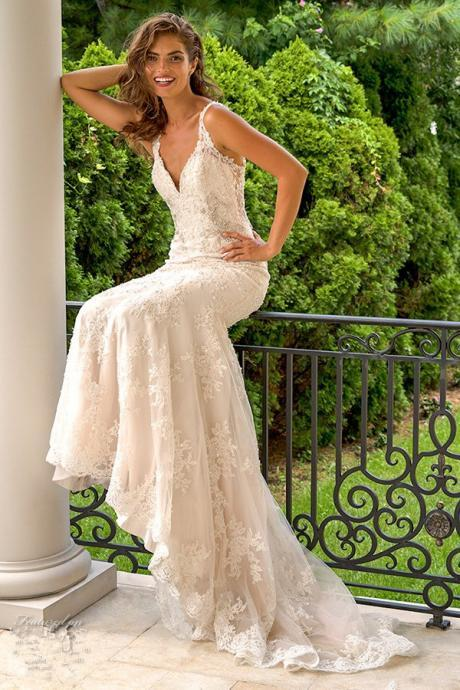 mermaid wedding dress back lace applique romantic open deep V-neck bridal gown custom US size 2 4 6 8 10 12 ++