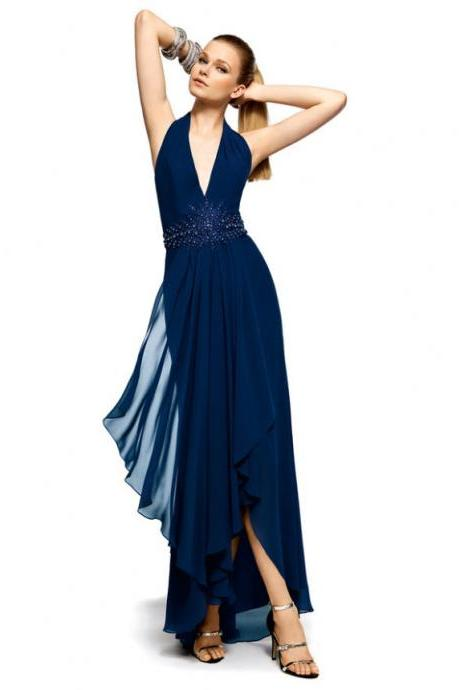 High Quality Prom Dress,High-lower Prom Dress,V-Neck Prom Dress,Prom Dress,Backless Prom Dress