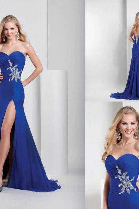 Custom Made Sweetheart Style Royal Blue Evening Dress, Slit Chiffon Halter Dress, Homecoming Long Evening Dresses, Formal Evening Dresses, dear sweetheart dress,cocktail party dress