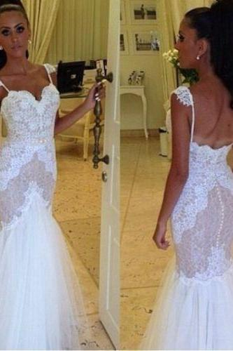 Classic white mermaid wedding dress with spaghetti straps sweetheart lace wedding dress bridal gown US size 2-4-6-8-10-12 ++