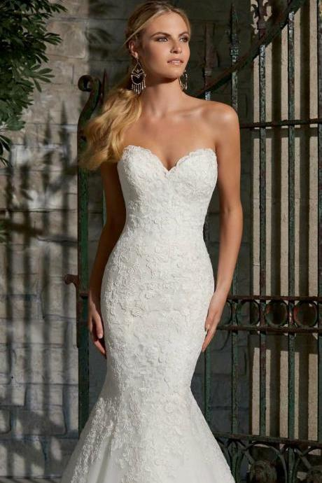 New White/Ivory Mermaid Bridal Wedding Dress Vintage wedding dress wedding Custom Size 2-4-6-8-10-12-14-16-18+