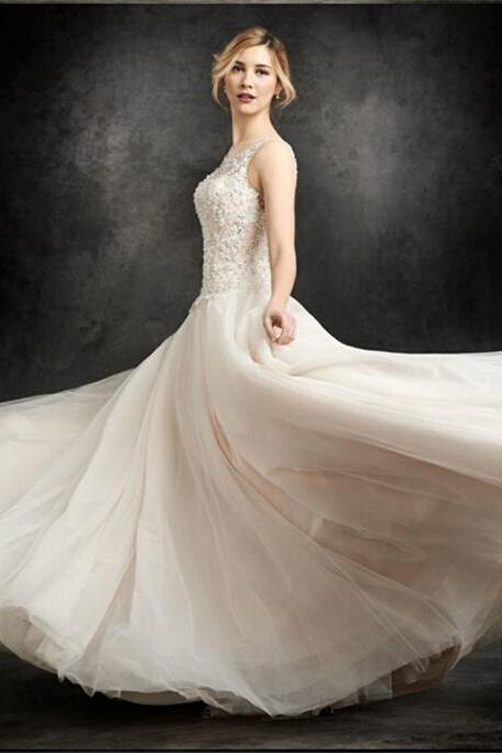 Ivory lace wedding dress word shoulder floor-length wedding dress open back bride dress US size 2-4-6-8-10-12-14 ++