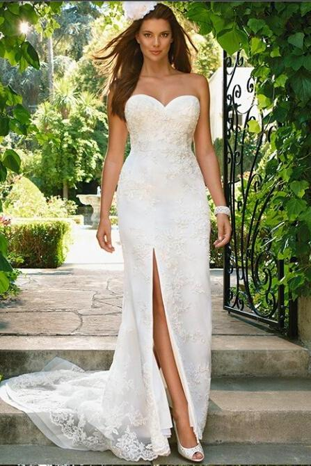 European and American fashion simple white wedding dress, Homecoming Long Wedding dress , romantic beach wedding dresses,Bohemia wedding dress custom