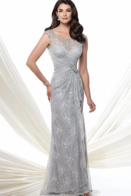 Light Gray Scoop Neck A-line High Level Lace Material Mother of the Brides Dress