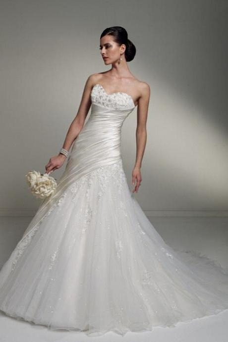 Sweetheart style lace wedding custom bridal, tulle applique wedding, wedding dress US size 2-4-6-8-10-12-14 ++