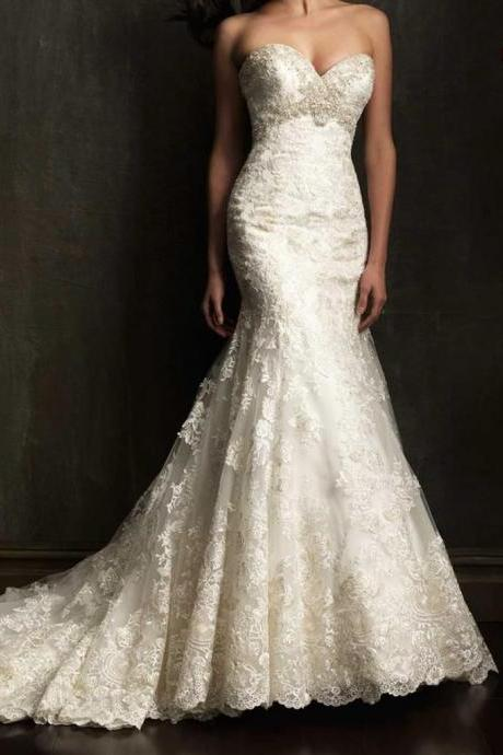 Hot Mermaid white ivory lace Wedding Dress custom