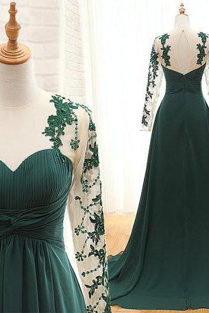Handcrafted long-sleeved dress pleated dark green long-sleeved dress, bridesmaid dresses, long evening dresses, prom dresses for formal occasions