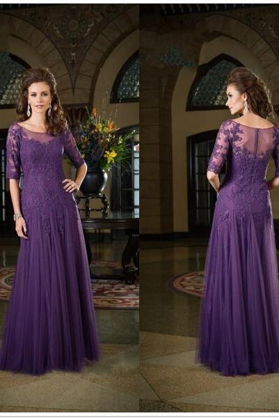 Lace mother of the bride dress chiffon evening dress Half Sleeve women prom dress chiffon dress