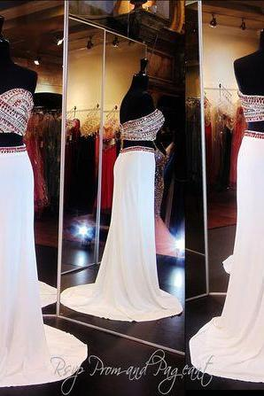 Real Image Sexy Prom Dresses Two 2 Pieces Bling Luxury Sparkle Mermaid White Sheer Neck Beads Rhinestones Crystals Zipper Back Long Formal Evening Party Gowns Vestidos