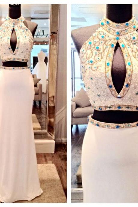 Real Imag Prom Dresses Bling Sparkle Luxury Two 2 Pieces Beads Crystals Satin Backless Satin Long Formal Party Evening Dress Gowns
