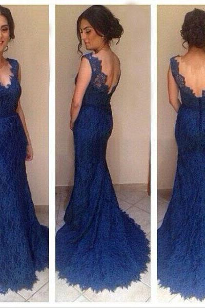 long prom dress, royal blue prom dress, v-neck prom dress, lace prom dress, off shoulder prom dress, mermaid prom dress, evening dress