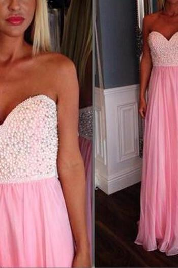 Long prom dress, pink prom dress, sweet heart prom dress, beading prom dress, junior prom dress, discount prom dress, evening dress