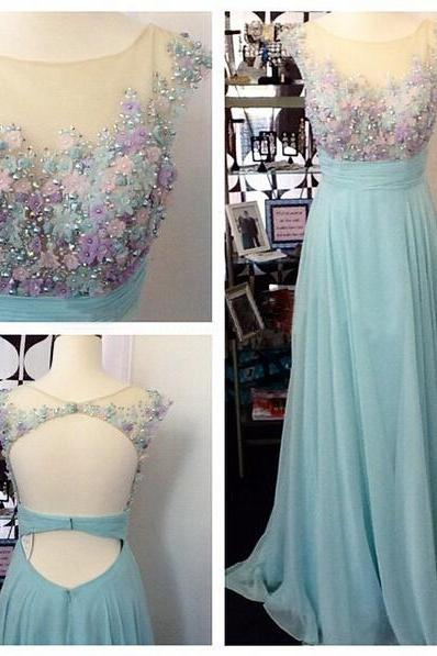 Long prom dress, junior prom dress, cap sleeve prom dress, open back prom dress, pretty prom dress, evening dress