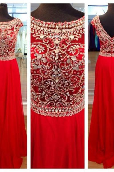 Red Prom Dresses,Long Prom Dresses, Chiffon Prom Dresses, Beade Prom Dresses, Cap Sleeve Prom Dresses, Prom Gowns