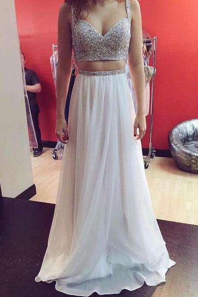 Two Pieces Chiffon Prom Dresses, Beading Evening Dresses, Prom Dresses Real Made A Line Prom Dresses On Sale,2 Pieces Evening Prom Dress