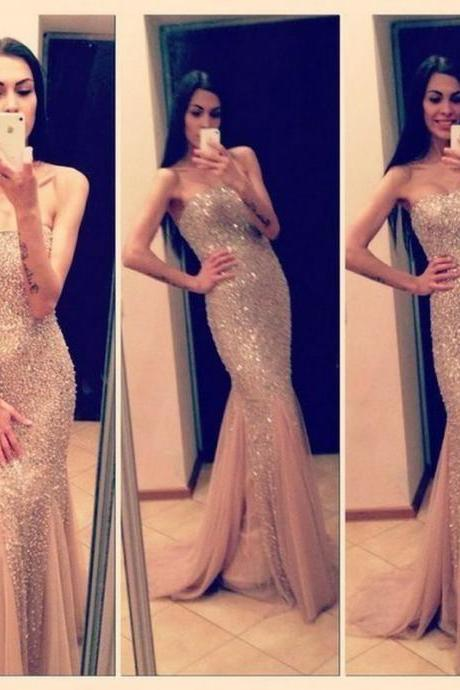 Sparkling Custom Made Sexy Mermaid Champagne Prom Dresses New Style Prom Prom Gown, Evening Dresses, Formal Dresses, Long Prom Dresses