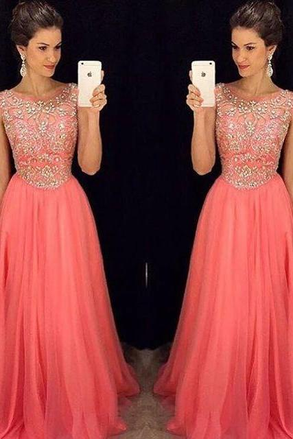 Beading Prom Dress Long Evening Dresses, Formal Dresses ,Floor Length Long Prom Dress, Prom Dress With Rhinestone