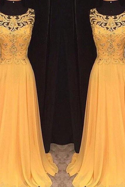Prom dresses, Yellow Prom dresses Long Yellow Prom Dress, Yellow Chiffon Long Prom Dress, Yellow Evening Dress