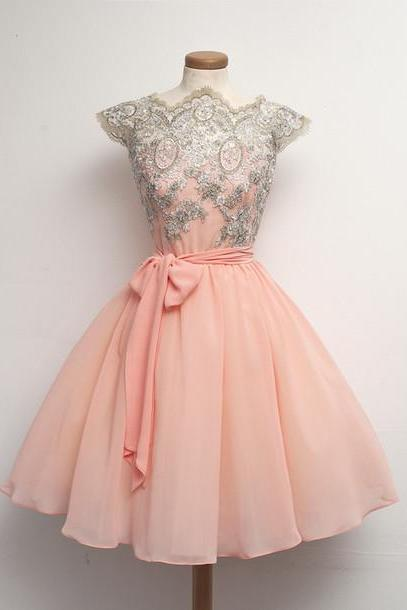 Custom Made Pink Lace Homecoming Dresses, Short Pink Dresses for Prom, Pink Lace Prom Dress, Braidsmaid Dress