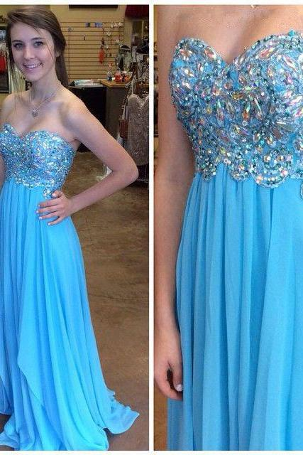 Evening Dress,Long Chiffon Evening Dress,Blue Evening Dresses,Crystal Evening Dresses,A Line Prom Dresses, Formal Evening Gowns, Party Dress