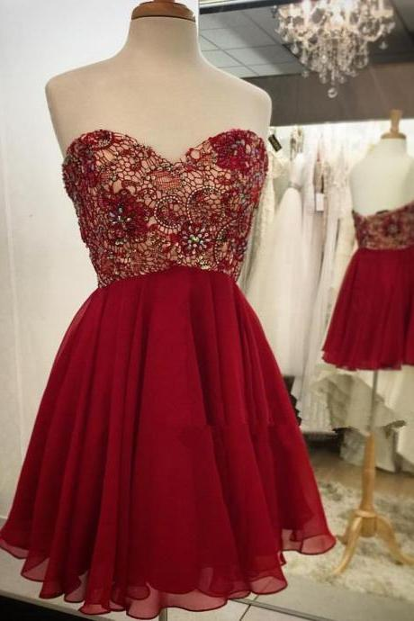 Lovely Short Burgundy Lace Beaded Prom Dresses Burgundy Homecoming Dresses, Short Graduation Dresses