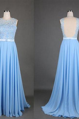 Lace Prom Dresses,Light Sky Blue Prom Dress,Modest Prom Gown,A Line Prom Gown,Lace Evening Dress,Chiffon Evening Gowns,Lace Party Gowns