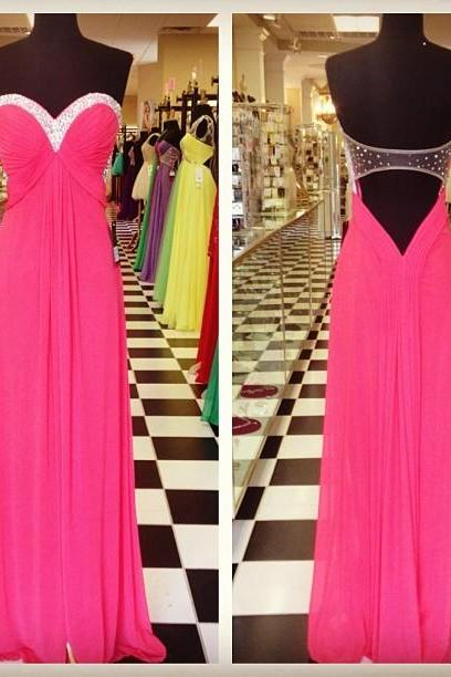 Pink Backless Prom Dresses,Open Back Prom Gowns, Pink Prom Dresses,Party Dresses,Long Prom Gown,Open Backs Prom Dress,Sparkle Evening Gown,Sparkly Party Gowbs