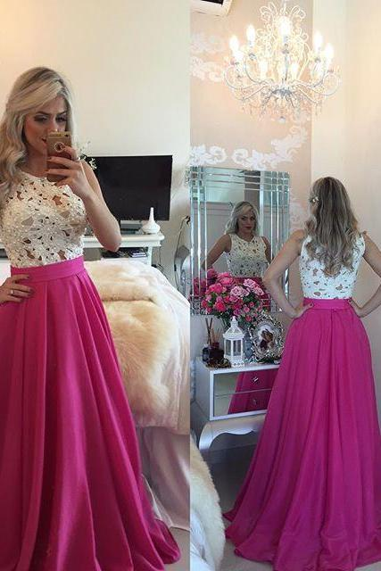 White Prom Dresses,Charming Evening Dress,White Prom Gowns,Lace Prom Dresses,2016 New Prom Gowns,Evening Gown,Backless Party Dresses