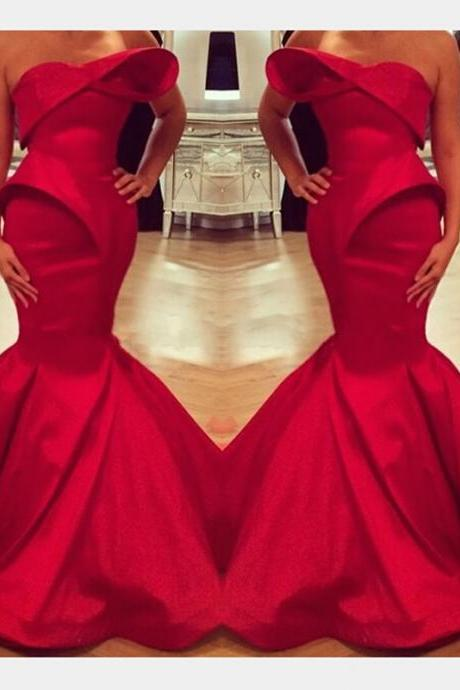 Red Prom Dress,Satin Red Prom Dresses, Long Prom Dress, Mermaid Prom Dress, Unique Prom Dress