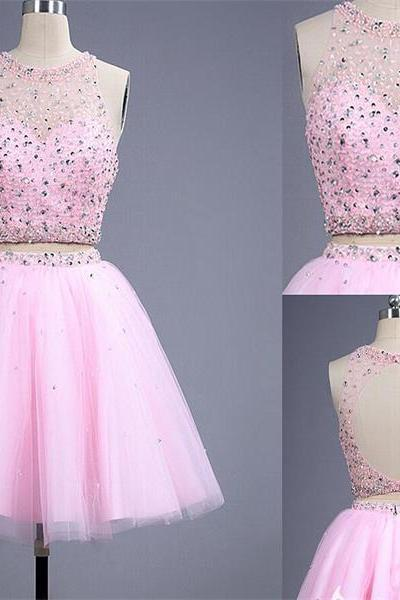 short pink homecoming dress,tulle homecoming dress,sparkly homecoming dress,two pieces homecoming dress,open back homecoming dress,junior lovely cheap popular homecoming dress