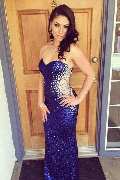 Sequin Prom Dresses,Royal Blue Prom Dress,Modest Prom Gown,Cheap Prom Gowns,Sequined Evening Dress,Royal Blue Evening Gowns,Sexy Sequined Party Gowns