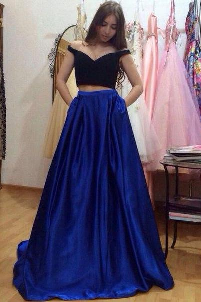 2 Piece Prom Gown,Two Piece Prom Dresses,black Evening Gowns,2 Pieces Party Dresses,Evening Gowns,Formal Dress,Evening Gowns For Teens