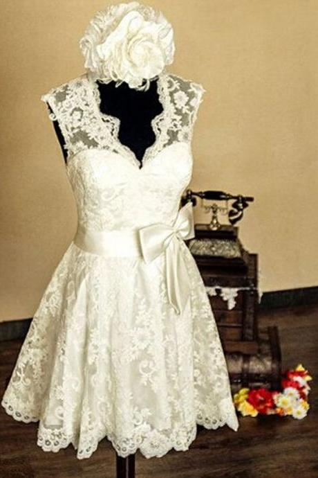 Elegant White Lace Short Wedding Dress Bridal Gowns homecoming dress