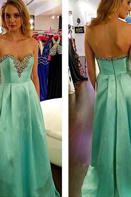 Sexy Sweetheart A-line Long Prom Dresses Evening Gowns Wedding Dress evening dress