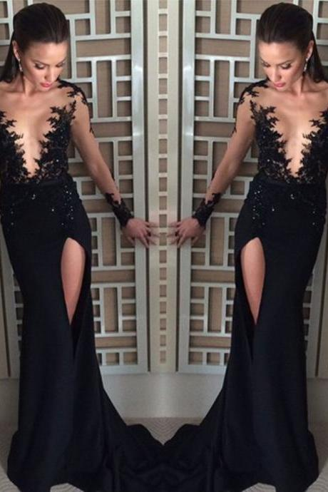 Black Prom Dresses,Lace Prom Dress,Sexy Prom Dress,Simple Prom Dresses,Long Sleeves Formal Gown,Mermaid Evening Gowns,Black Party Dress,Prom Gown For Teens