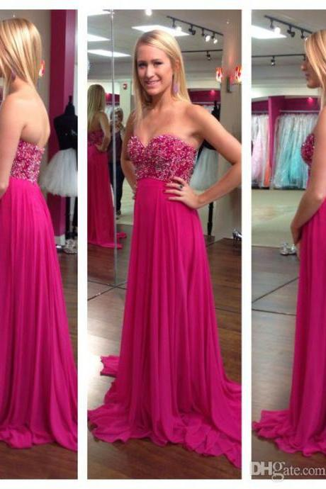 Tulle Prom Dresses,Hot Pink Prom Dress,Modest Prom Gown,Ball Gown Prom Gowns,Beading Evening Dress,Strapless Evening Gowns,Sparkly Party Gowns