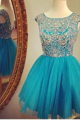 Blue Homecoming Dress,Short Prom Dresses,Homecoming Gowns,Fitted Party Dress,Prom Dresses,Sparkly Cocktail Dress,backless Homecoming Gown,2016 Style Glitter Evening Gowns