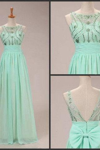 Mint Green Prom Dresses,2016 Evening Dresses,New Fashion Prom Gowns,Elegant Prom Dress,Princess Prom Dresses,Chiffon Evening Gowns,Sparkle Formal Dress