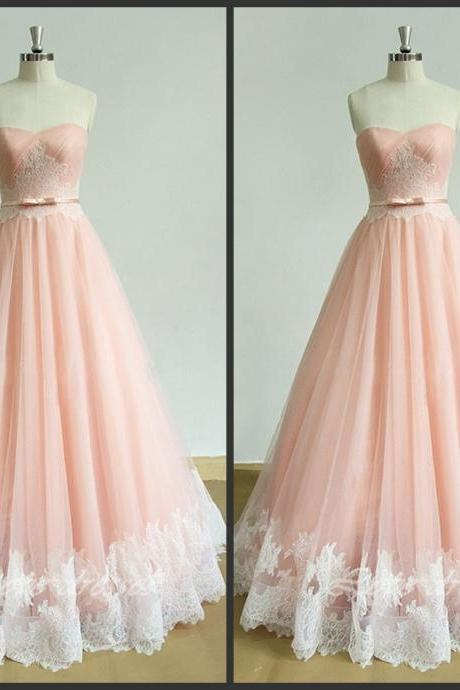 Blush Pink Sweetheart Neckline Draped Floor Length Tulle Evening Dress with Lace Applique