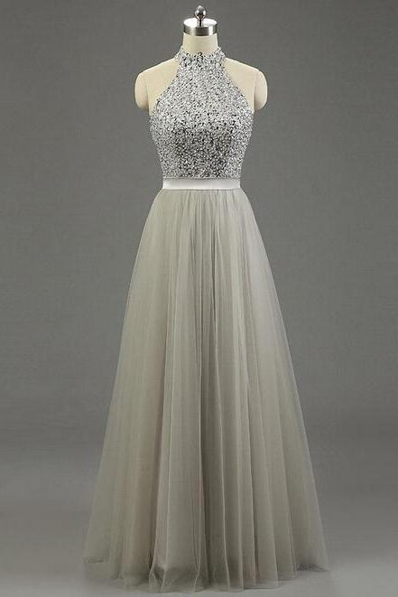 Floor-length High Neck Tulle Prom Dress with Crystal Beads Embellishment