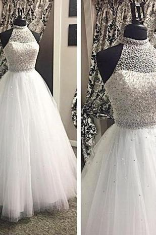 White Prom Dresses,Tulle Prom Dress,Modest Prom Gown,Silver BeadedProm Gown,Princess Evening Dress,Ball Gown Evening Gowns,Beaded Party Gowns,2016 Evening Gown