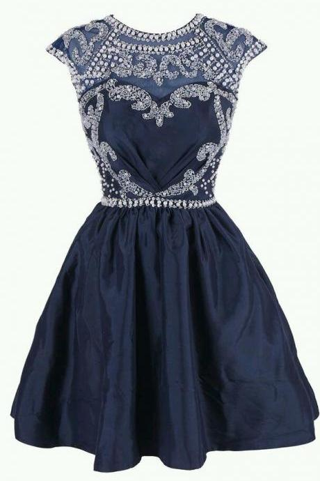 Homecoming Dress,Sexy Homecoming Dress,Cute Homecoming Dress,Simple Homecoming Dress,Short Prom Dress,Navy Blue Homecoming Gowns,Beaded Sweet 16 Dress