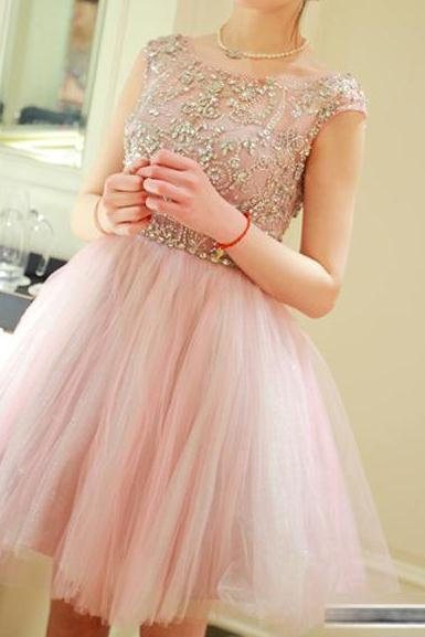 Pink Homecoming Dresses,Homecoming Dress, Cute Homecoming Dresses,Tulle Homecoming Gowns,Short Prom Gown Cocktail dress