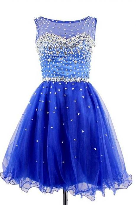 Royal Blue Homecoming Dress,Short Prom Dresses,Tulle Homecoming Gowns,Fitted Party Dress,Beading Prom Dresses,Sparkly Cocktail Dress,Homecoming Gown